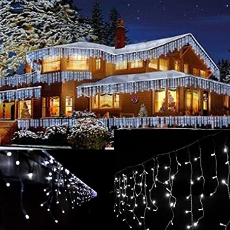 Jndee Fully Weatherproof Icicle Christmas Fairy Lights 10m Wide 10m Cable 360 Cool White Led 8 Modes 31v Safe Voltage Cool White