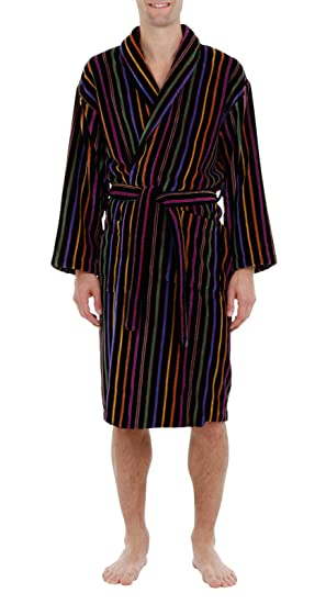 Bown of London - Men s Luxury Velour Dressing Gown - Black with Bright  Stripes (X 265582bf7