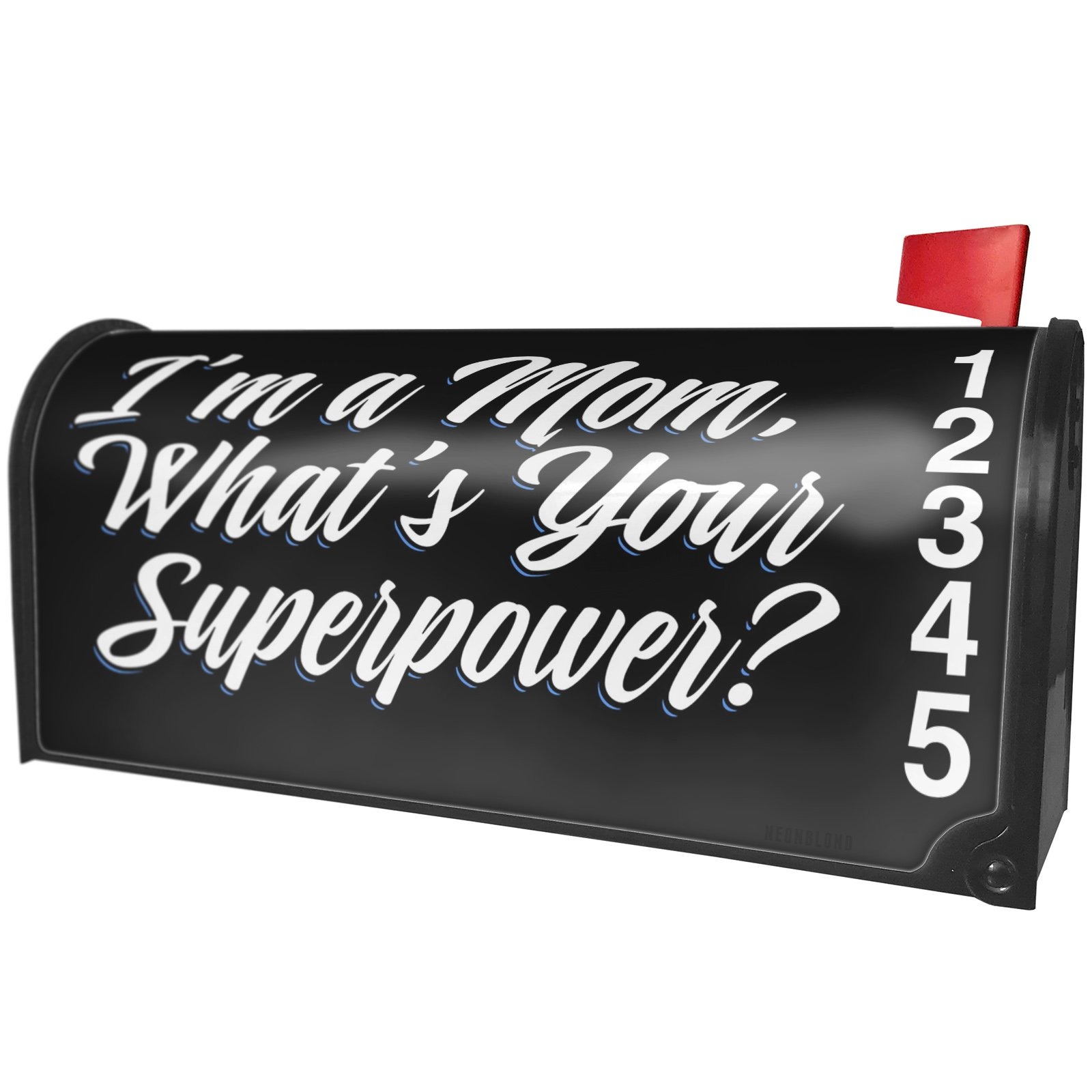 NEONBLOND Classic Design I'm a Mom, What's Your Superpower? Magnetic Mailbox Cover Custom Numbers
