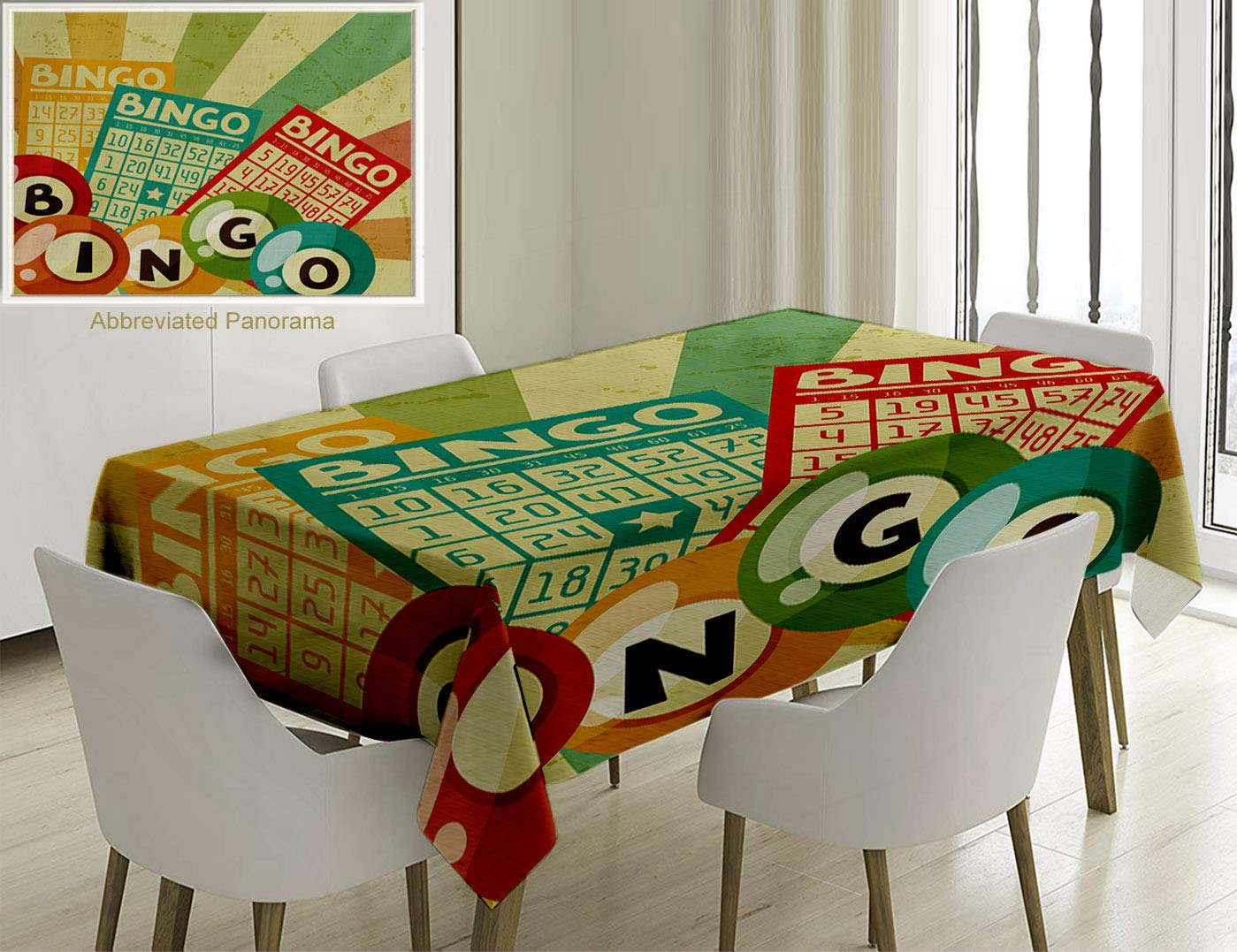Unique Custom Cotton and Linen Blend Tablecloth Vintage Decor Bingo Game with Ball and Cards Pop Art Stylized Lottery Hobby Celebration ThemeTablecovers for Rectangle Tables, 70 x 52 inches by Nalagoo