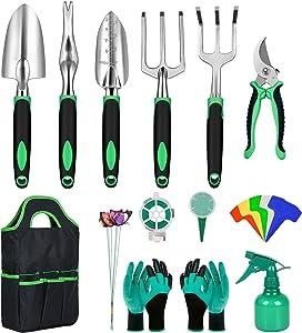 Dveda Garden Tool Set 28 Pieces, Stainless Steel Heavy Duty Gardening Hand Tool with Garden Gloves, Organizer Bag and Gardening Supplies, Gardening Gifts for Men Women Parents Kids