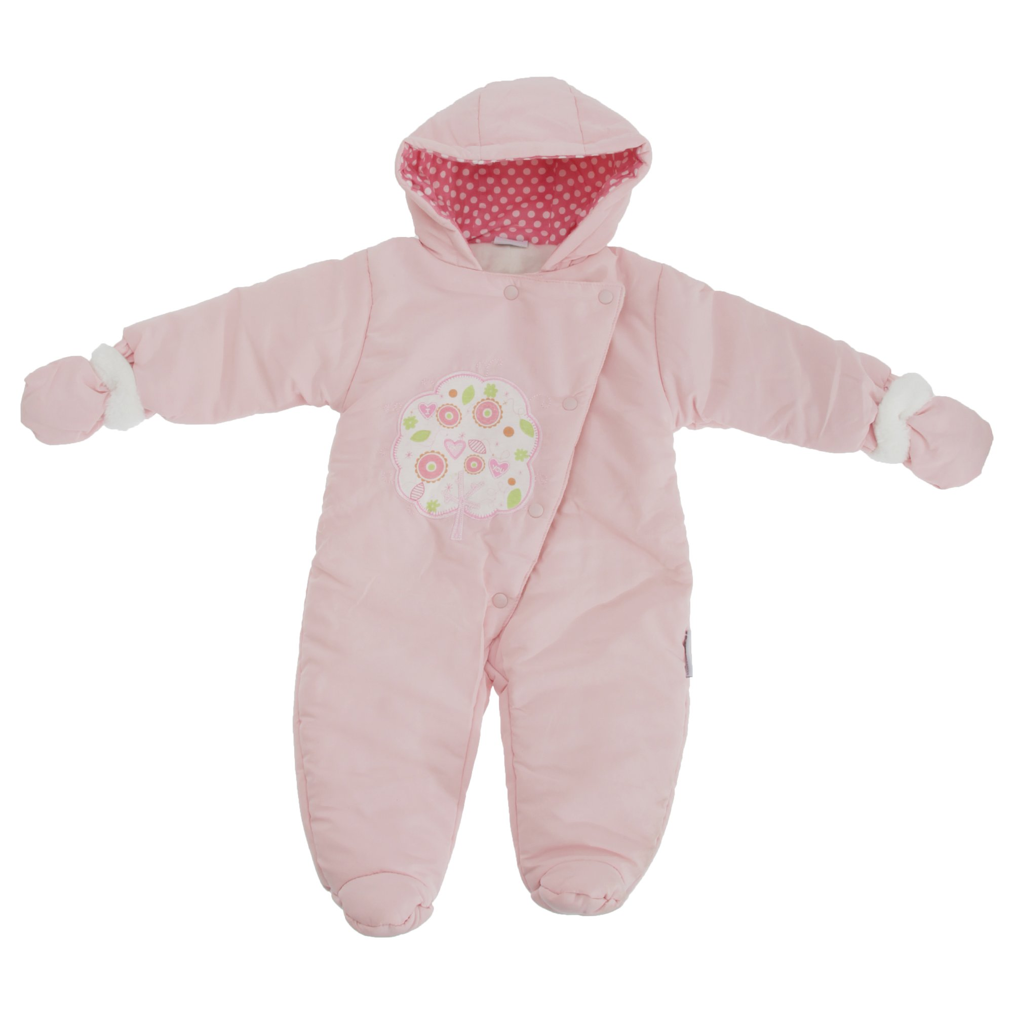 Baby Girls I Love You Tree Design All In One Hooded Winter Snowsuit (3-6 Months) (Pink)
