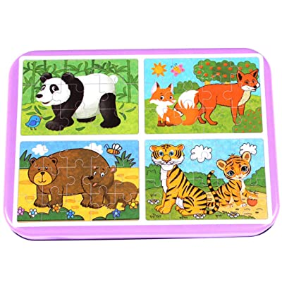 Yu2d Wooden Jigsaw Puzzles Set for Kids Age 3-5 Year Old 20 Piece Animals Colorful Wooden Puzzles for Toddler Children Learning Educational Puzzles Toys (B): Home & Kitchen