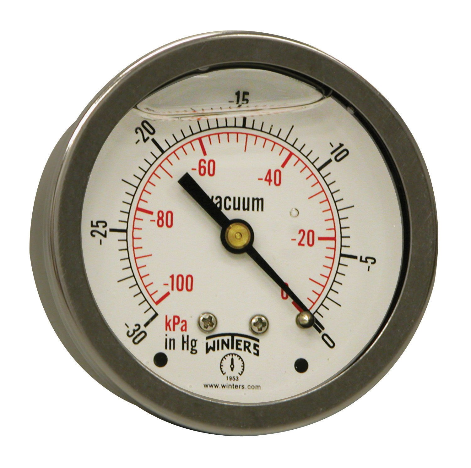 """Winters PFQ Series Stainless Steel 304 Dual Scale Liquid Filled Pressure Gauge with Brass Internals, 30""""Hg Vacuum/kpa, 2-1/2"""" Dial Display, +/-1.5% Accuracy, 1/4"""" NPT Center Back Mount"""