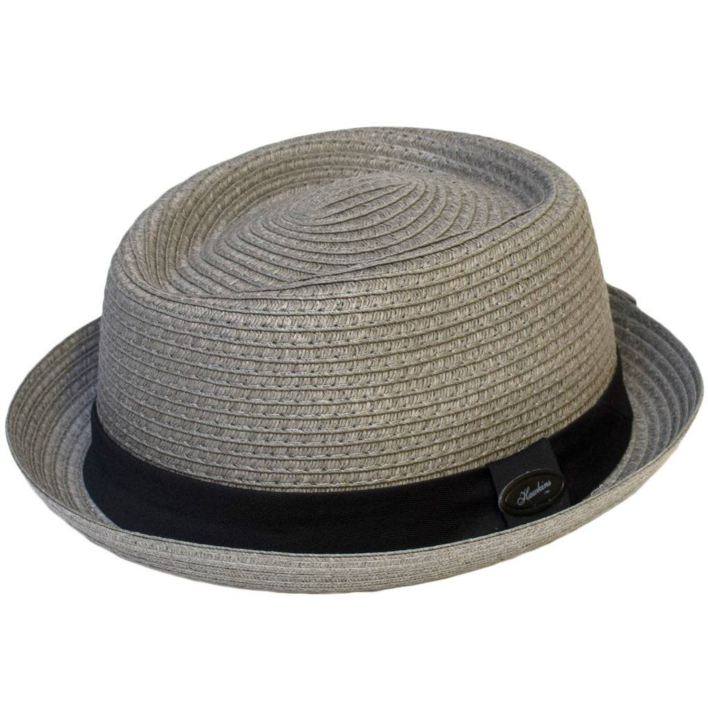 Pork Pie Hat Straw Style Crushable Black, Grey Light Grey