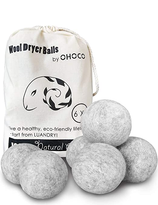 OHOCO Wool Dryer Balls 6 Pack XL, Organic Natural Wool for Laundry, Fabric Softening - Anti Static, Baby Safe, No Lint, Odorless and Reusable Gray best dryer balls