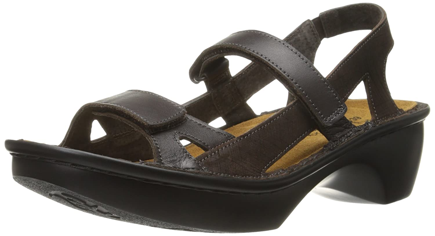 NAOT Women's Seoul Wedge Sandal B00LT48BZ2 37 EU/6 - 6.5 M US|French Roast/Mine Brown Leather