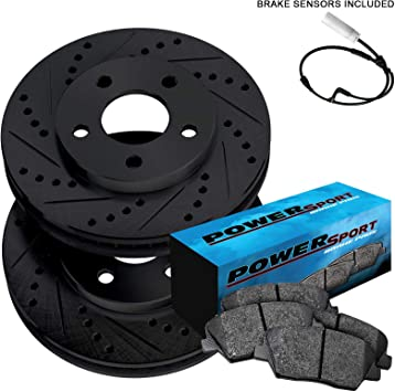 FOR RANGE ROVER 4.4 SDV8 FRONT DRILLED BRAKE DISCS PADS WEAR WIRE SENSOR 380mm