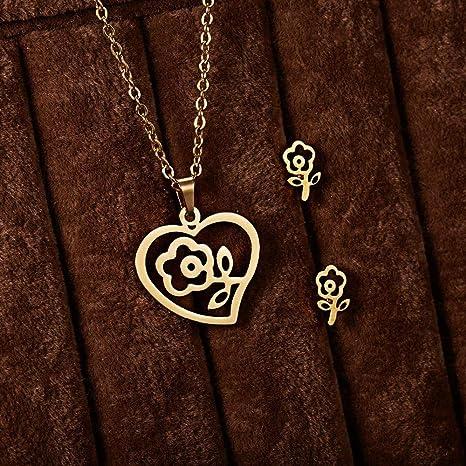 Amazon.com: Conjunto de collar y pendientes de acero ...