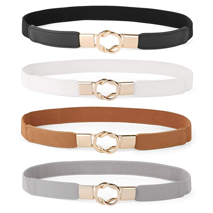 a39003dbd Women Skinny Belt for Dresses Retro Stretch Ladies Waist Belt Plus Size Set  of 4(