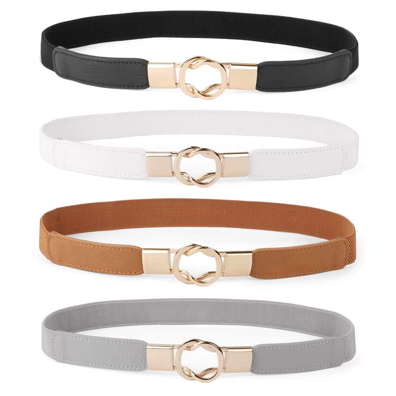 Women Skinny Belt for Dresses Retro Stretch Ladies Waist Belt Plus Size Set of 4(Fits Waist 26-32 Inches,0-Black+Brown+White+Gray)