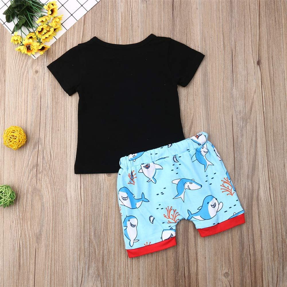2tlg Babykleidung Kinder Baby Jungen Sommer Kleidung Set T-Shirt Kurzarm Top Shorts Kurz Hose Set Hai Outfits Bekleidungsset