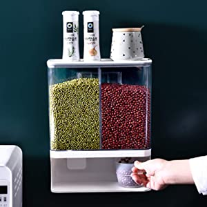 Wall Mounted Dry Food Dispenser - 2-Grid Storage Kitchen Food Dry Food Dispenser, Wall Mount Dispenser for Candy Granola Nuts Beans Not for Oatmeal (3000ML)