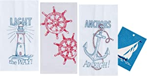 Nautical, Anchor, Lighthouse Themed Cotton Kitchen Towels with Navy, White, Blue Print | 3 Flour Sack Towel Set with Decorative Design for Dish and Hand Drying | Includes Swedish Dishcloth