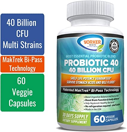 Amazon.com: Advanced Formulation with Two-Step Acid Protection - Probiotic  40 Billion CFU | Shelf Life Potency Guaranteed | No Refrigeration |  Digestive Health | Men and Women | Made in USA: Health & Personal Care