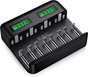EBL LCD Universal Battery Charger - 8 Bay AA AAA C D Battery Charger for Rechargeable Batteries Ni-MH AA AAA C D Batteries with 2A USB Port, Type C Input, Fast AA AAA Battery Charger