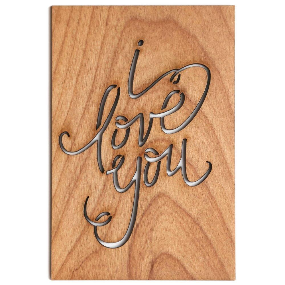 I Love You Calligraphy Laser Cut Wood Card (Love/5 Year Anniversary/Boyfriend or Girlfriend/Valentine's Day)