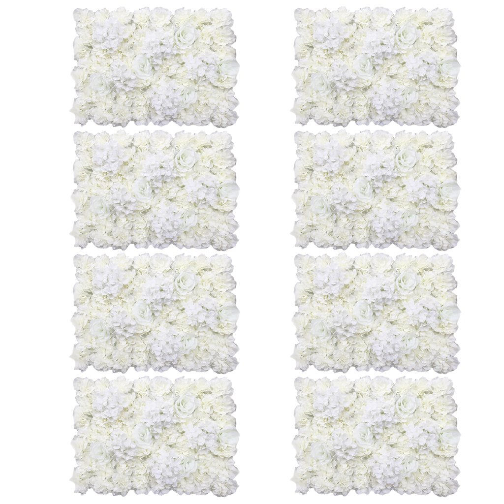 MonkeyJack 8 Pieces Artificial Flowers Wall Panels Wedding Home Hanging Decor Cream