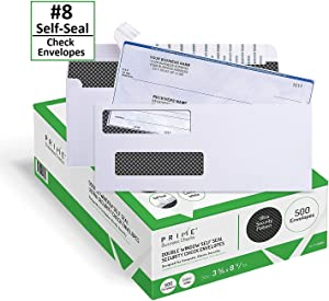 500 Self Seal QuickBooks Double Window Security Check Envelopes - for Business Laser Checks, Ultra Security Tinted, Self Adhesive Peel & Seal White, Size 3 5/8 x 8 11/16-24lb NOT for INVOICES