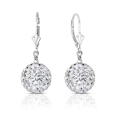 a6717bb09e7dc Sterling Silver Dangle Crystal Ball Drop Earrings (14MM)