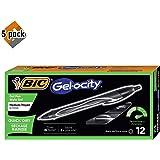 BIC Gel-ocity Quick Dry Retractable Gel Pen, Medium Point (0.7mm), Black, 12-Count - 5 Pack