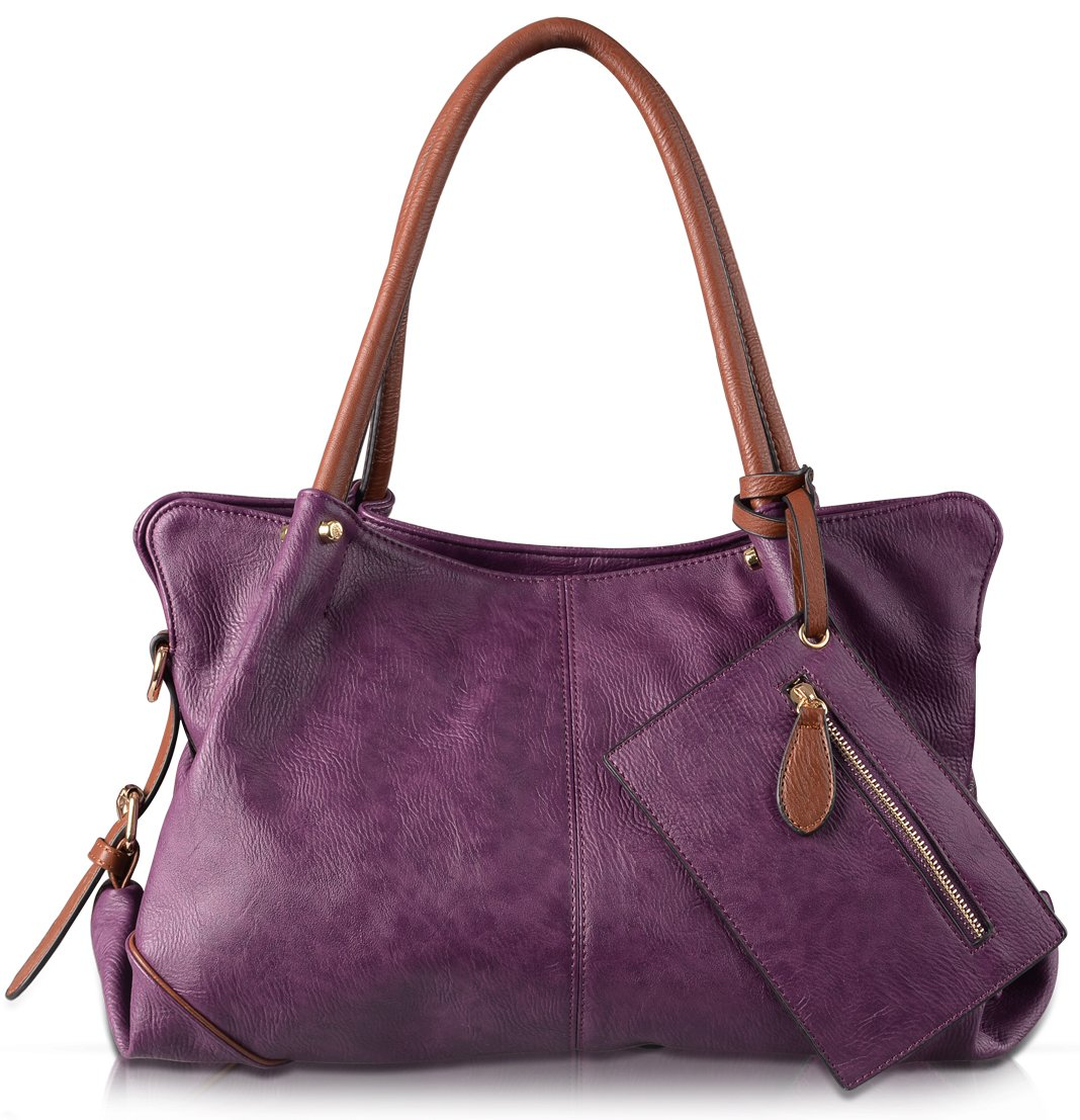 AB Earth 3 Pieces Women Hobo Handbag PU Leather Totes Matching Wallet Satchel Shoulder Bag, M898 (Purple)
