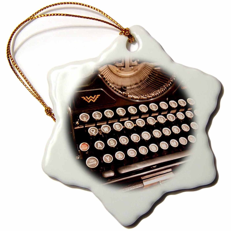 3dRose orn290721 Continental máquina de escribir Copo de Nieve decorativa para colgar, diseño, porcelana, 3 pulgadas: Amazon.es: Hogar