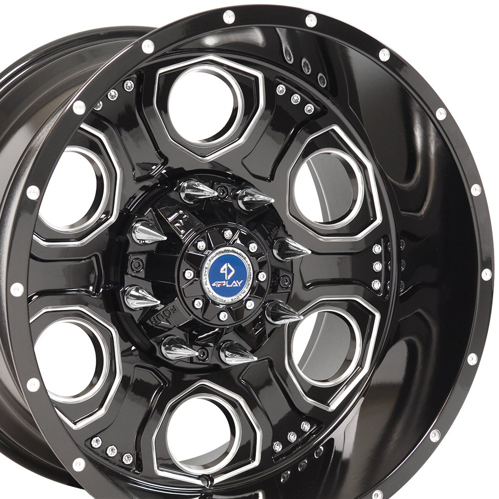 20x12 Wheels Fits 8 Lug Heavy Duty GMC Chevy Trucks - Black w/Mach'd Face Rim - 4Play Revolver 4 Play Wheels