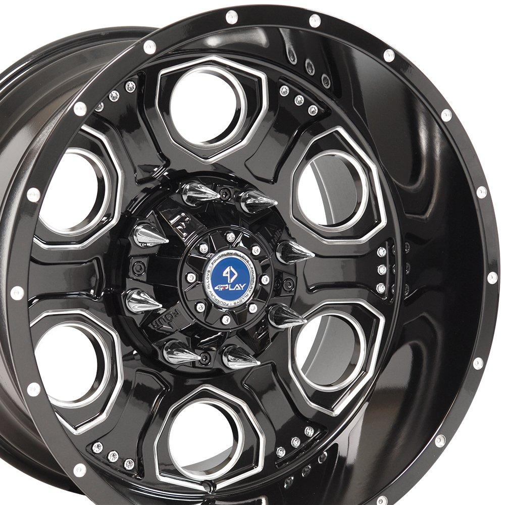 20x12 4Play Revolver Wheels Fit 8-Lug Ford Trucks and SUVs - Black w/Mach'd Face Rims - SET