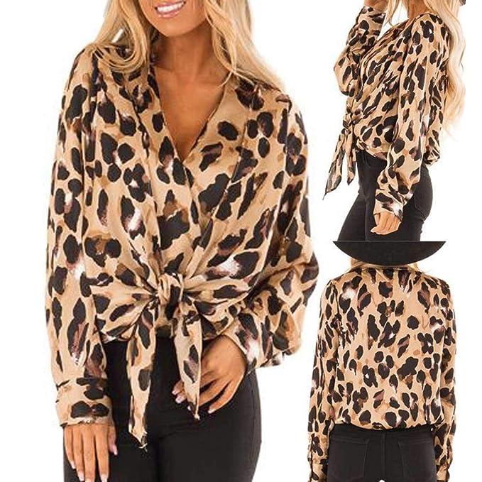 Amazon.com: Blusa de mujer con estampado de leopardo, con ...