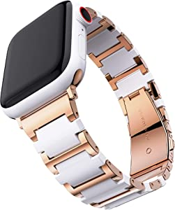T-ENGINE Ceramic Metal Link Band Compatible with Apple Watch Band 42mm for Women Series 3 Series 4 Series 5 44mm SE Series 6 Rose Gold