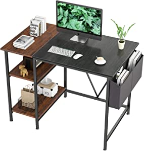 Home Office Computer Desk 39 inch Study Writing Desk with Wooden Storage Shelf 2-Tier Industrial Morden Laptop Table with Splice Board