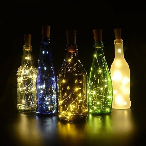 6 Piezas De Corcho Luces Botella Luces de Hadas de Cuerda LED 75cm de Alambre de