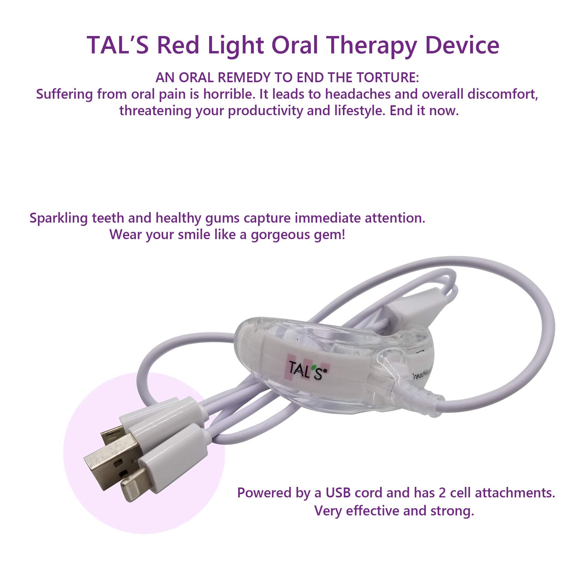 TAL'S Red Light Oral Health Dental Device | Red Light Therapy for Immediate Relief of Tooth Pain Gum Sensitivity | Promotes Healing of Tissue & Bone | Reduces Bacteria, Inflammation and Receding Gums by TAL'S (Image #1)