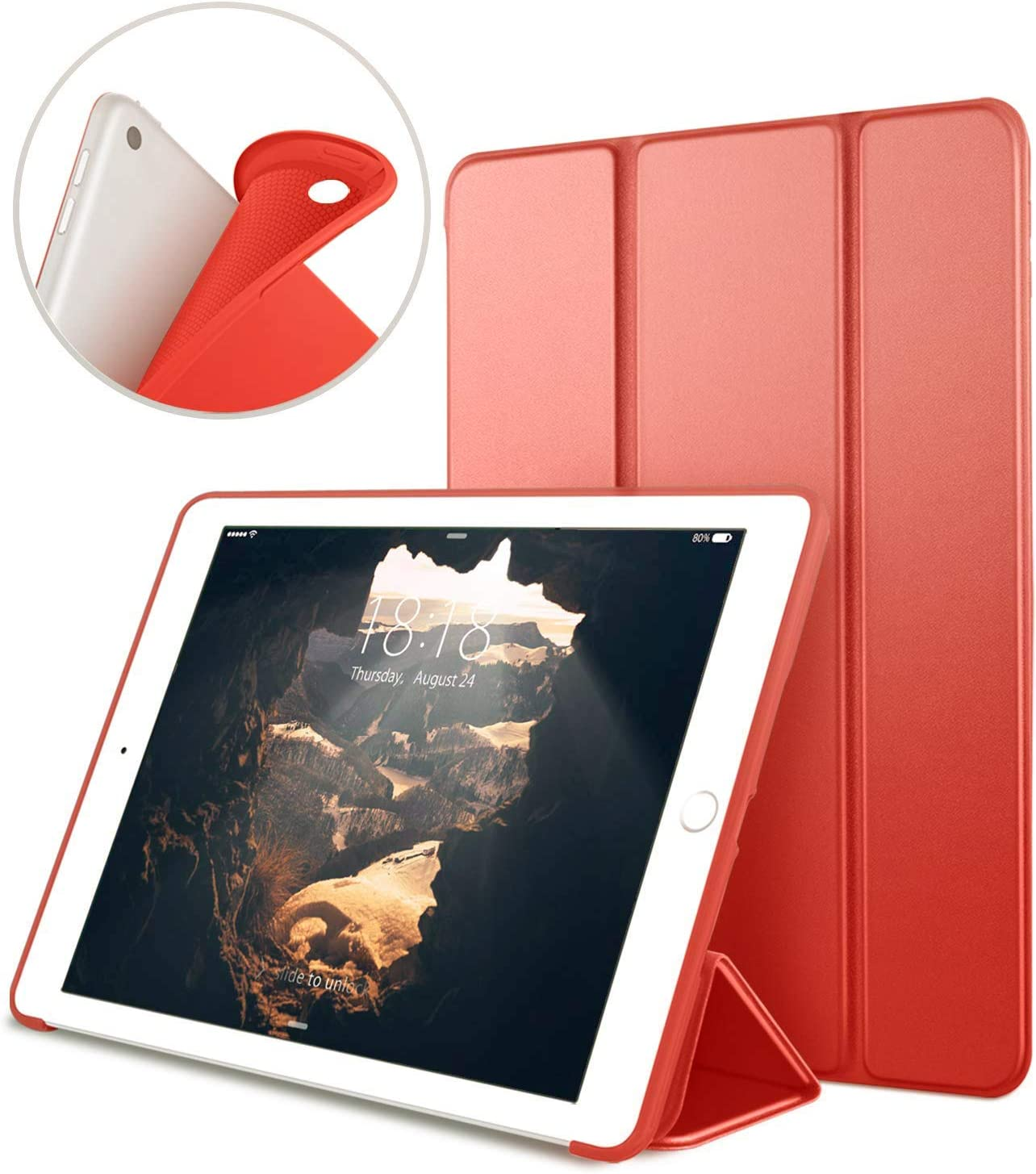 New iPad 9.7 inch 2018/2017 Case, VAGHVEO Lightweight Trifold Stand Smart iPad 6th Generation Cases [Auto Sleep/Wake] Soft TPU Back Cover for Apple 5th Generation (A1893/A1954/A1822/A1823), Red