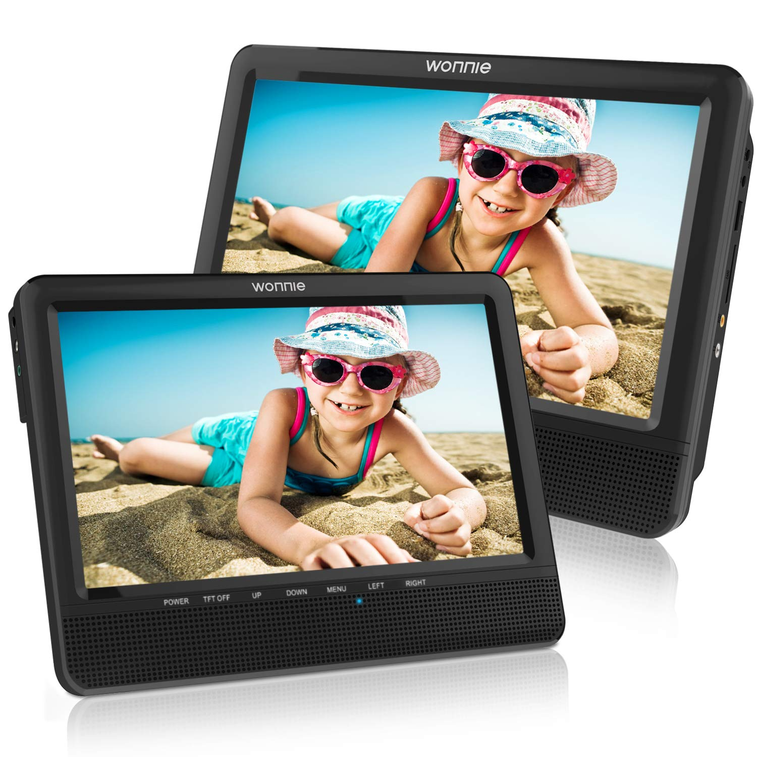 WONNIE 9.5'' Dual Screen DVD Player Portable for Car Travel Built-in 5 Hours Rechargeable Battery, Last Memory&USB&SD Slot(Two Screens Play Same Movie) by WONNIE