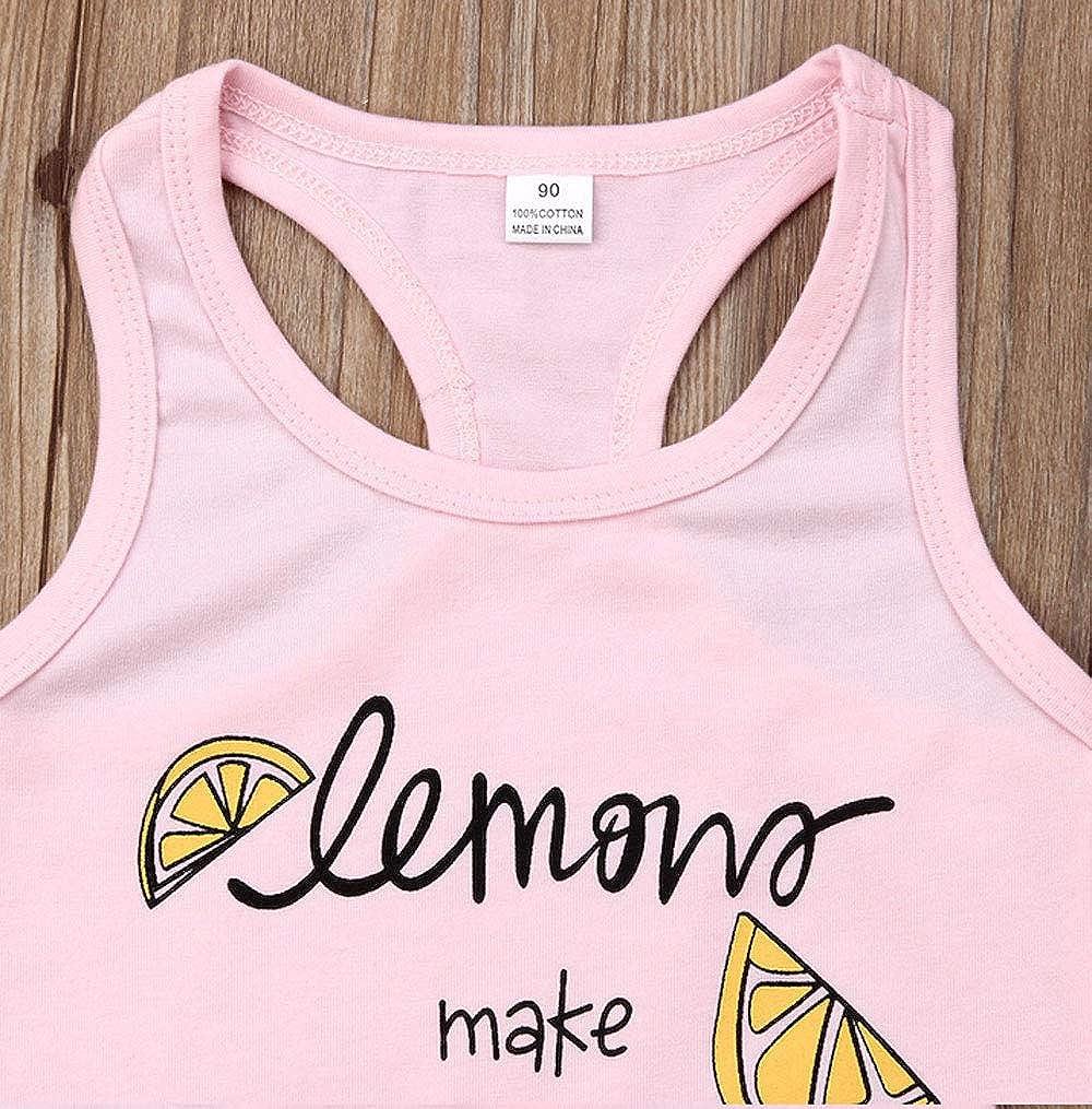 Short Pant Set Summer 2Pcs Clothes Set Toddler Baby Girl Flamingo Bloomers Outfit Lemon Make Lemonade Vest Tops