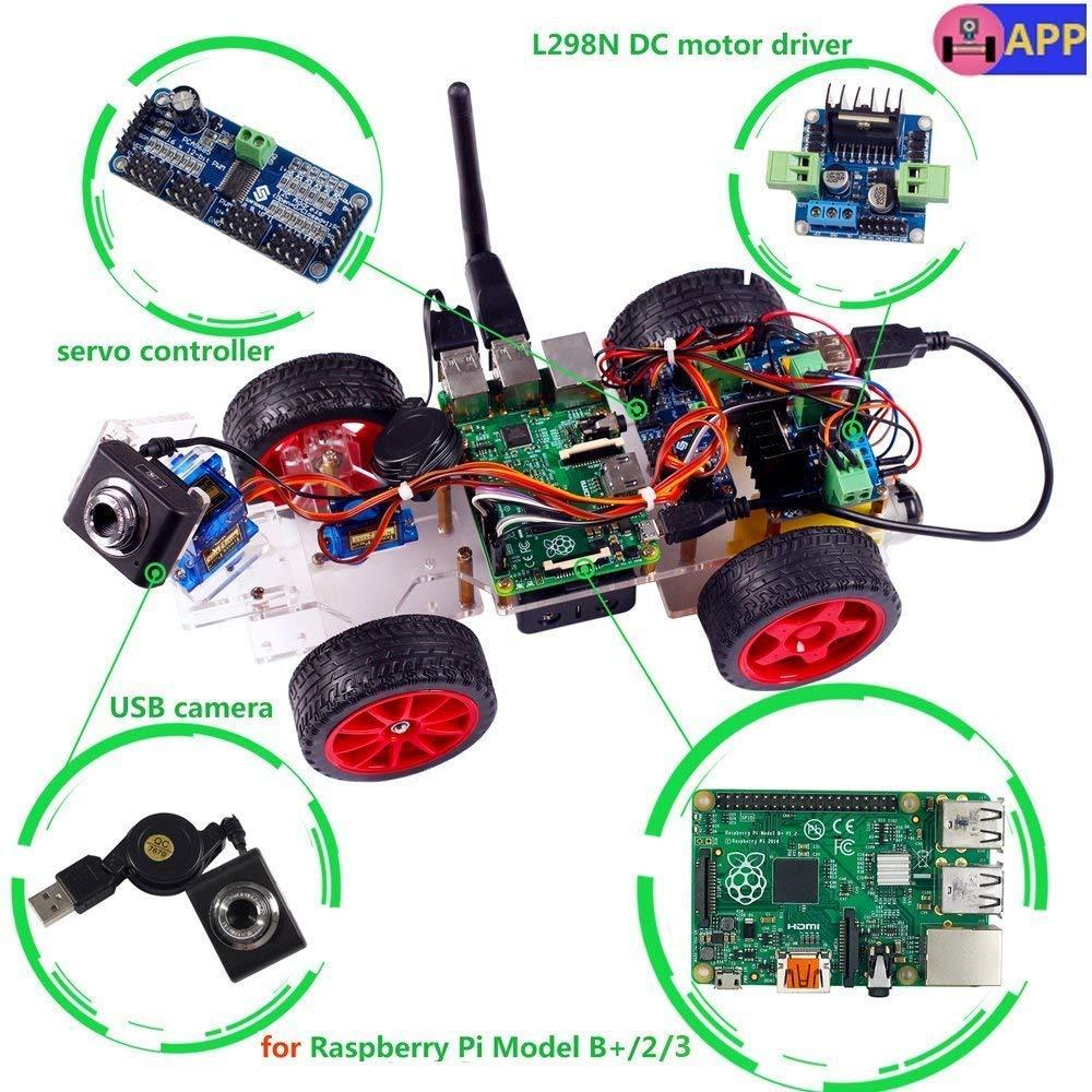 SunFounder Model Car Kit Smart Robot Toys with Video Camera for Raspberry Pi 3 Model B+ B 2B, RC Servo Motor Remote Control Robotics and Tutorial