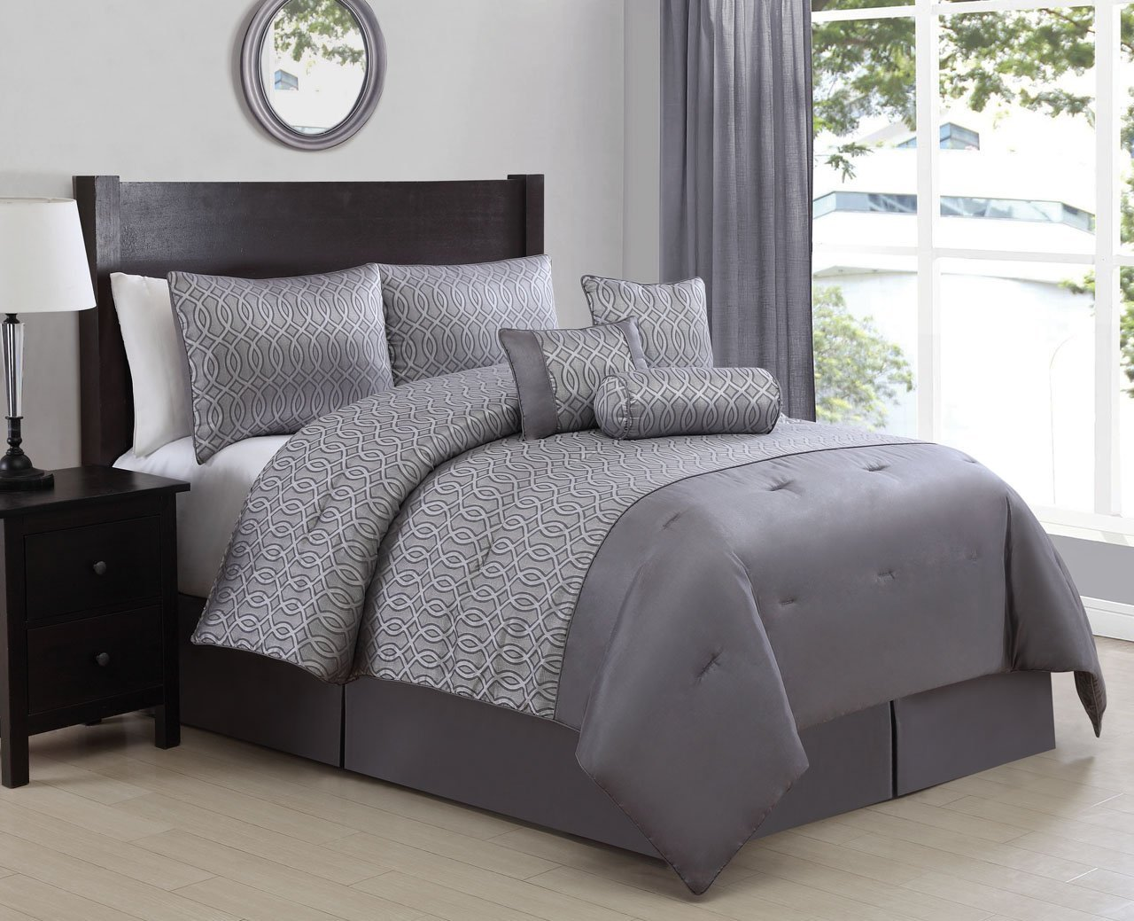 7 Piece King Mateo Silver Comforter Set