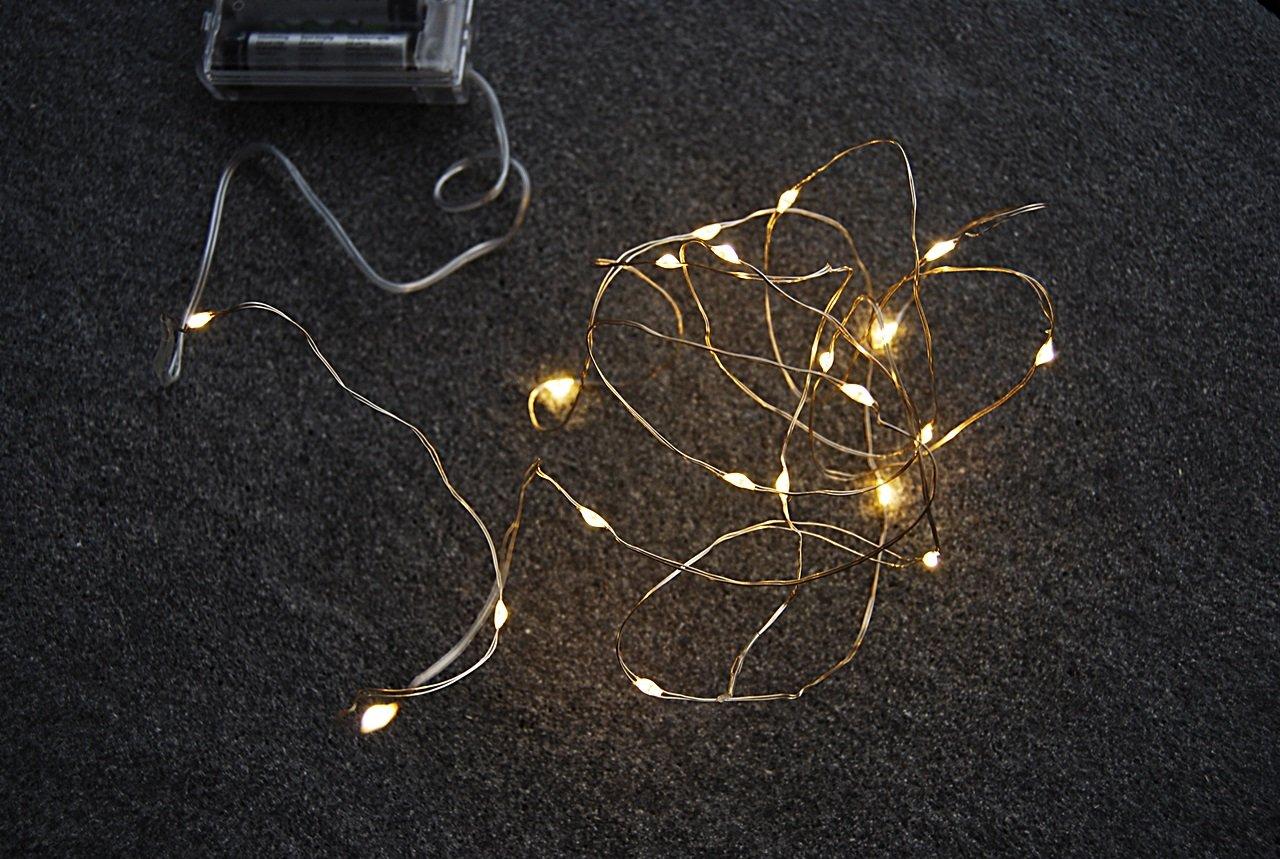 LED Silberdraht batteriebetrieben, 20 Lichter, mit Zeitschaltuhr ...