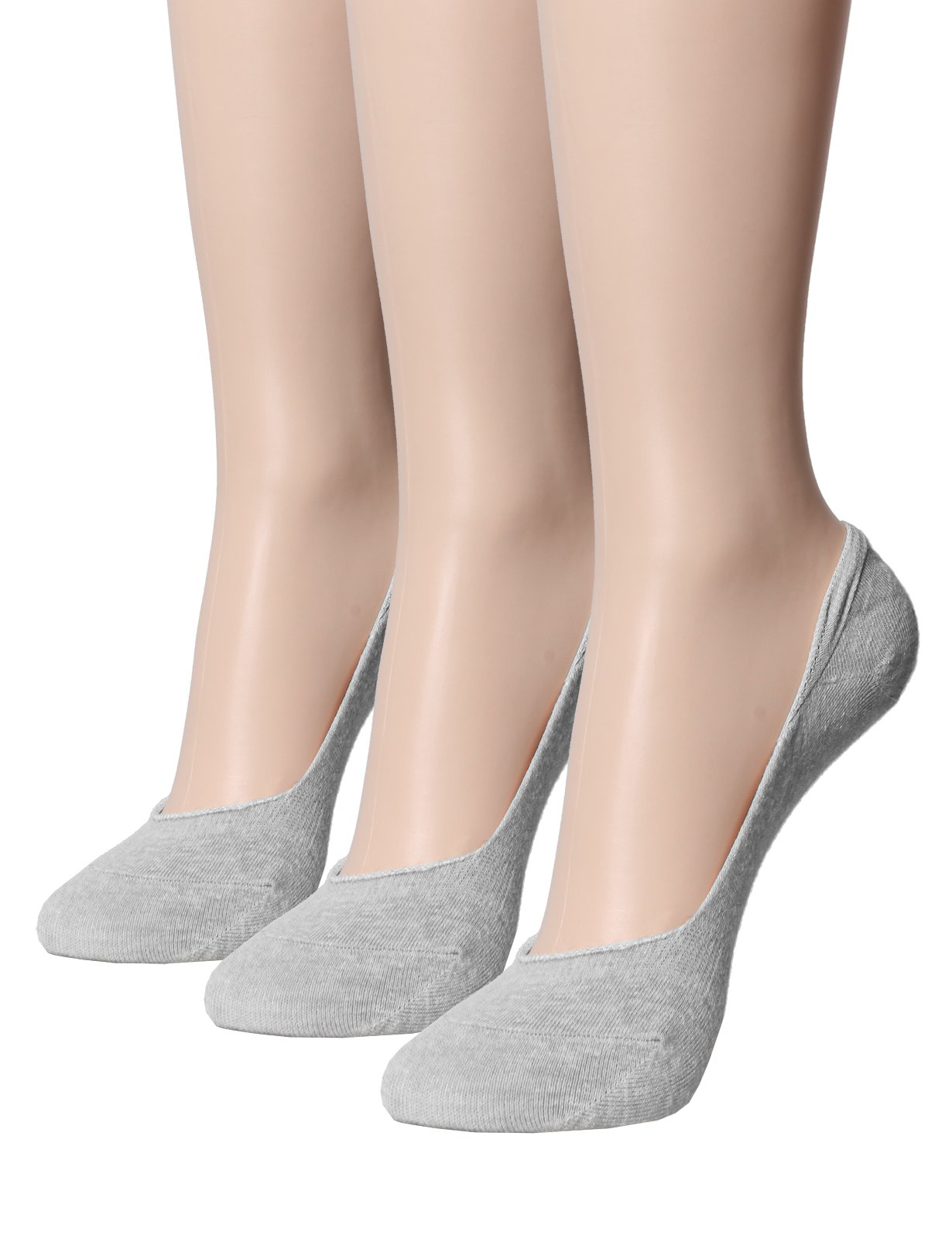 OSABASA Women's 3 Pack Casual Invisible No Show Socks Non Slip(SET3KWMS0241-GRAY)