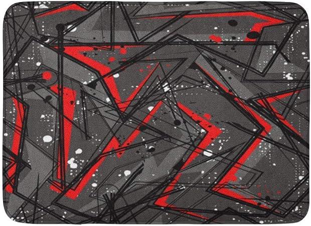 Alfombras de baño Alfombras de baño Alfombrilla para Exterior/Interior Patrón geométrico Abstracto Líneas Curvas Pintura en Aerosol Tinta Urbano Caótico en Gris Negro Rojo Colores Decoración de bañ: Amazon.es: Hogar