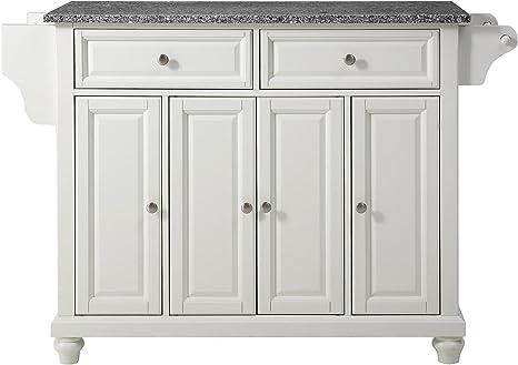 Amazon Com Crosley Furniture Cambridge Full Size Kitchen Island With Solid Gray Granite Top White Kitchen Islands Carts