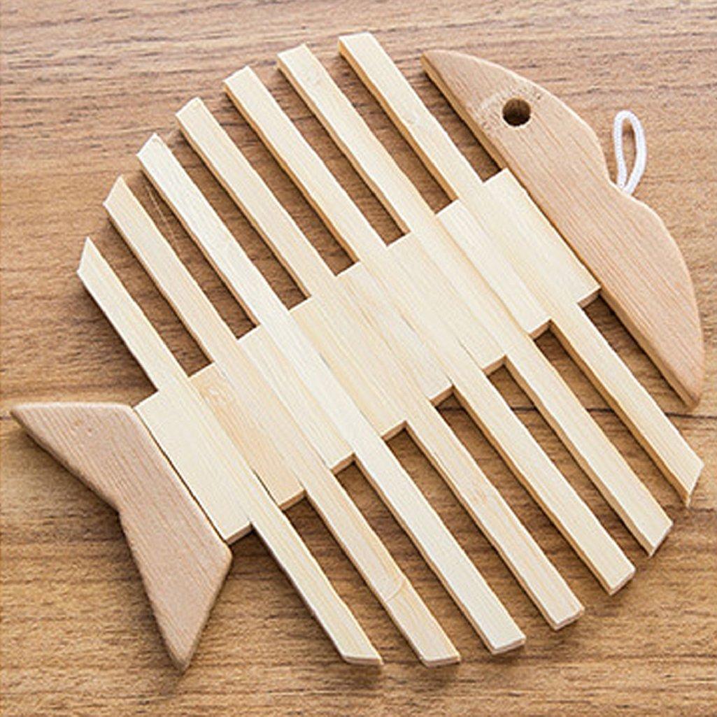 Acamifashion Heat Resistant Trivet Pot Mat Bamboo Coaster Holder Placemat - Fish