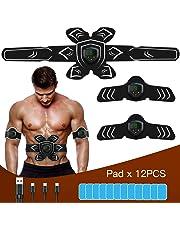 FYLINA EMS Trainingsgerät Muskelstimulation Elektrostimulation Muskeltrainer Bauchtrainer Muskelstimulator Bauch Massagegerät Muskelaufbau und Fettverbrennungn Home Fitness Machine (Weiß & Schwarz)