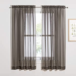 "NICETOWN Sheer Curtains for Windows 63 inch Long, Rod Pocket Decorative Soft Sheer Panels Draperies for Boys/Kids Bedroom, 60"" W, Set of 2, Dark Grey"