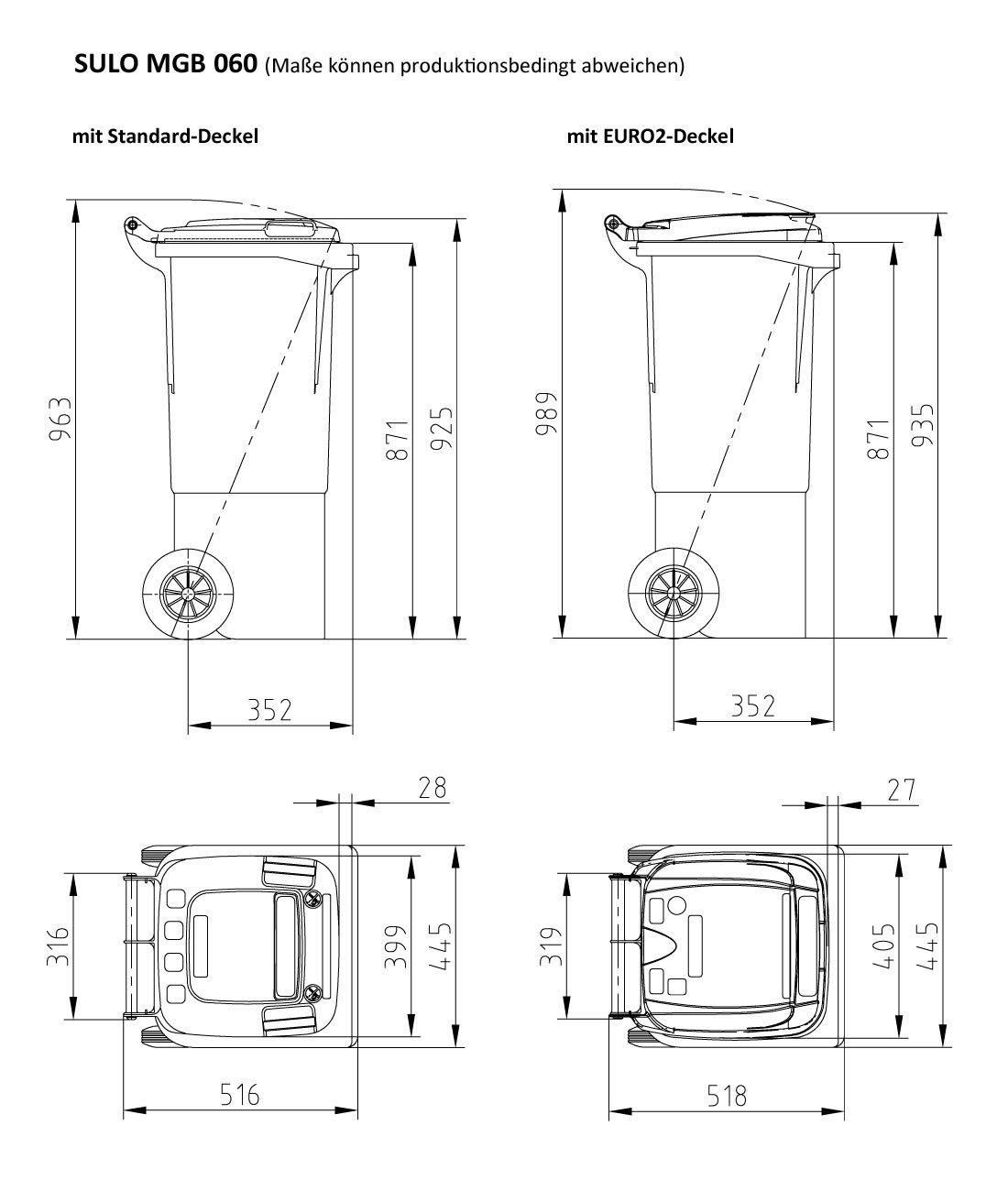 22266 contenedor a basura SULO 60 L amarillo Cubo de basura 2 ruedas
