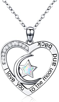 Star Necklace with Birthstone Heart Charm /& Pearl In Christmas Gift Box