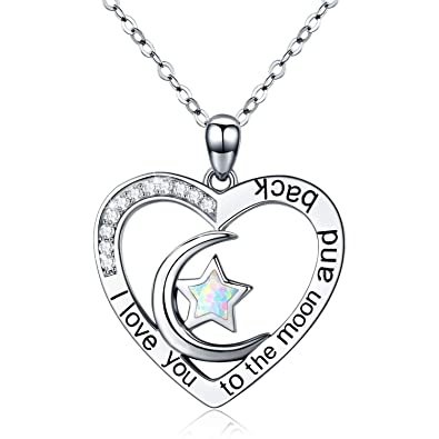 Amazon Com Cuoka I Love You To The Moon And Back Necklace Opal Moon