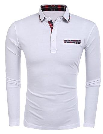 787b700b Coofandy Mens Turn Down Collar Long Sleeve Plaid Patchwork Shirt Top S-XXL